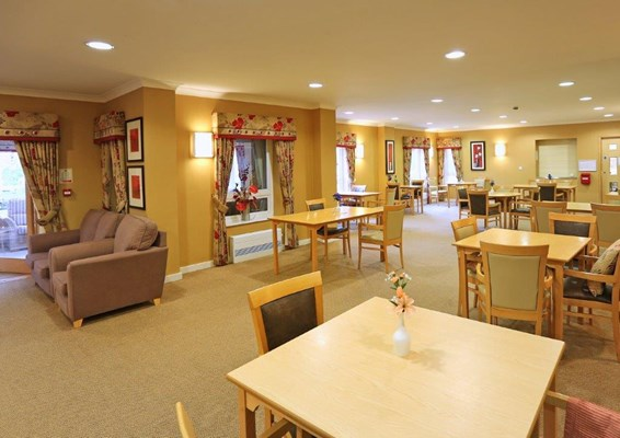 Spacious dining room where residents share mealtimes together
