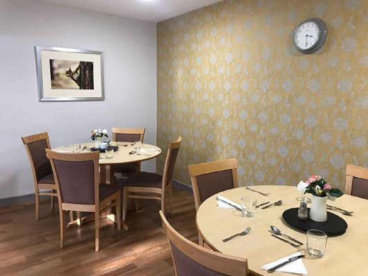 The dining area with table and chairs and yellow flowered wall