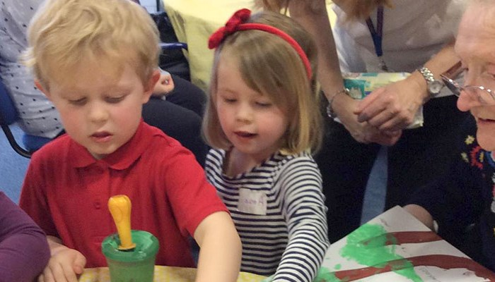 Nursery children form new friendships with care home residents in Irvine