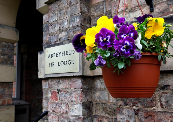 A hanging basket of flowers beside the Fir Lodge sign