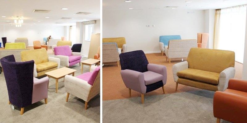 Seating areas with brightly coloured chairs