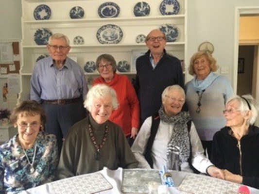 Residents of Abbeyfield House all together in the communal dining room