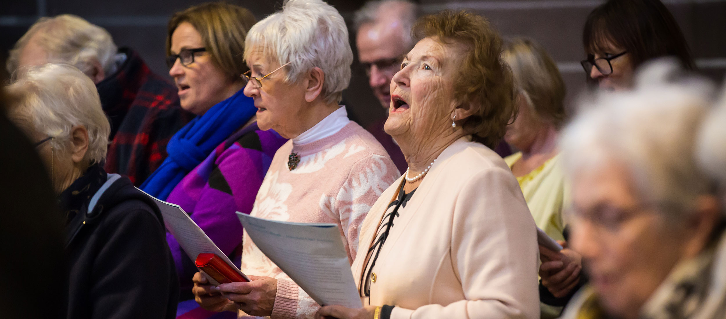Abbeyfield residents singing at the Liverpool Carol Service