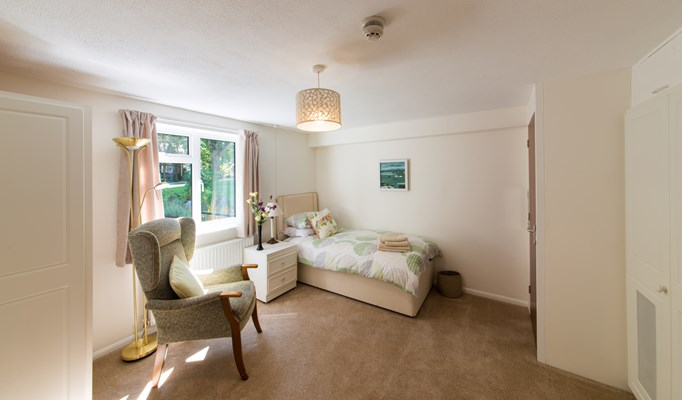 Bright and airy bedroom for residents at Abbeyfield House, Great Missenden