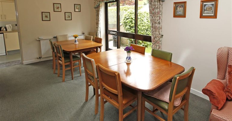 Communal dining room where residents enjoy meals together