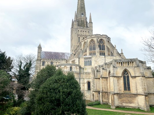 Norwich Cathedral and it's surrounding gardens