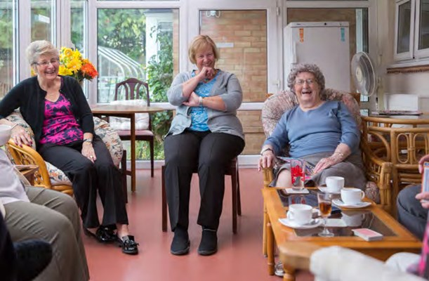 Residents enjoying a catch up over tea at Abbeyfield House, Basildon