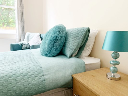Beautiful and bright resident bedroom at Gardener House