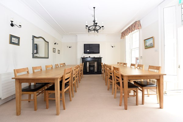 Dining area with two long dining tables