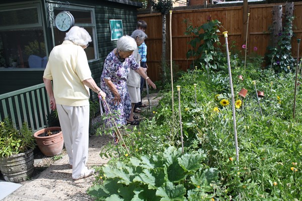 Residents tending to the garden