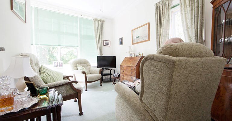 Light and airy communal lounge where residents can relax, socialise or watch TV