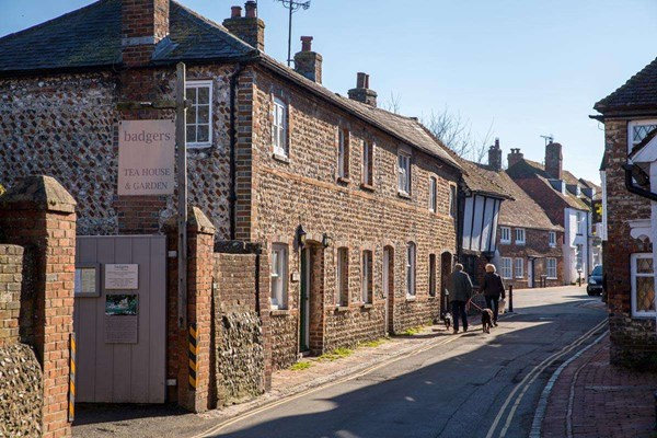 Street in Alfriston with couple walking dogs through village