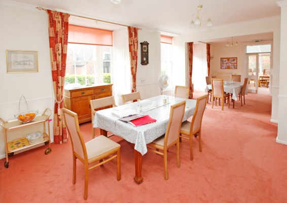Communal dining room where residents enjoy meal times together at St Mary's House