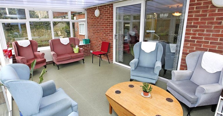 Light and airy conservatory where residents can socialise or enjoy a cup of tea overlooking the peaceful garden
