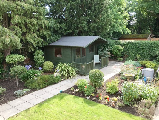 Summer house at Rider House where residents can enjoy the garden, come rain or shine