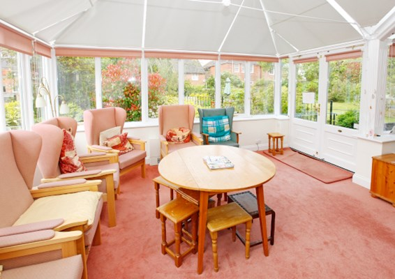Communal conservatory overlooking the beautiful garden